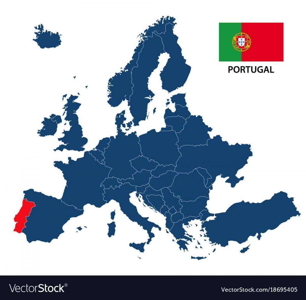 södra europa karta Europa karta Portugal   Karta över Portugal i Europa (Södra Europa  södra europa karta