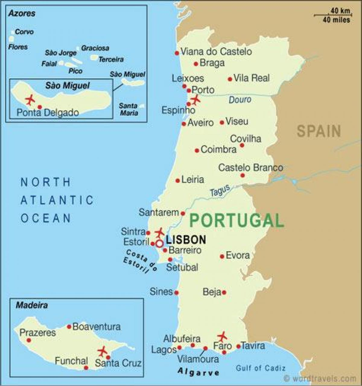 Karta Europa Portugal.Portugal Flygplatser Karta Karta Over Flygplatser I Portugal I