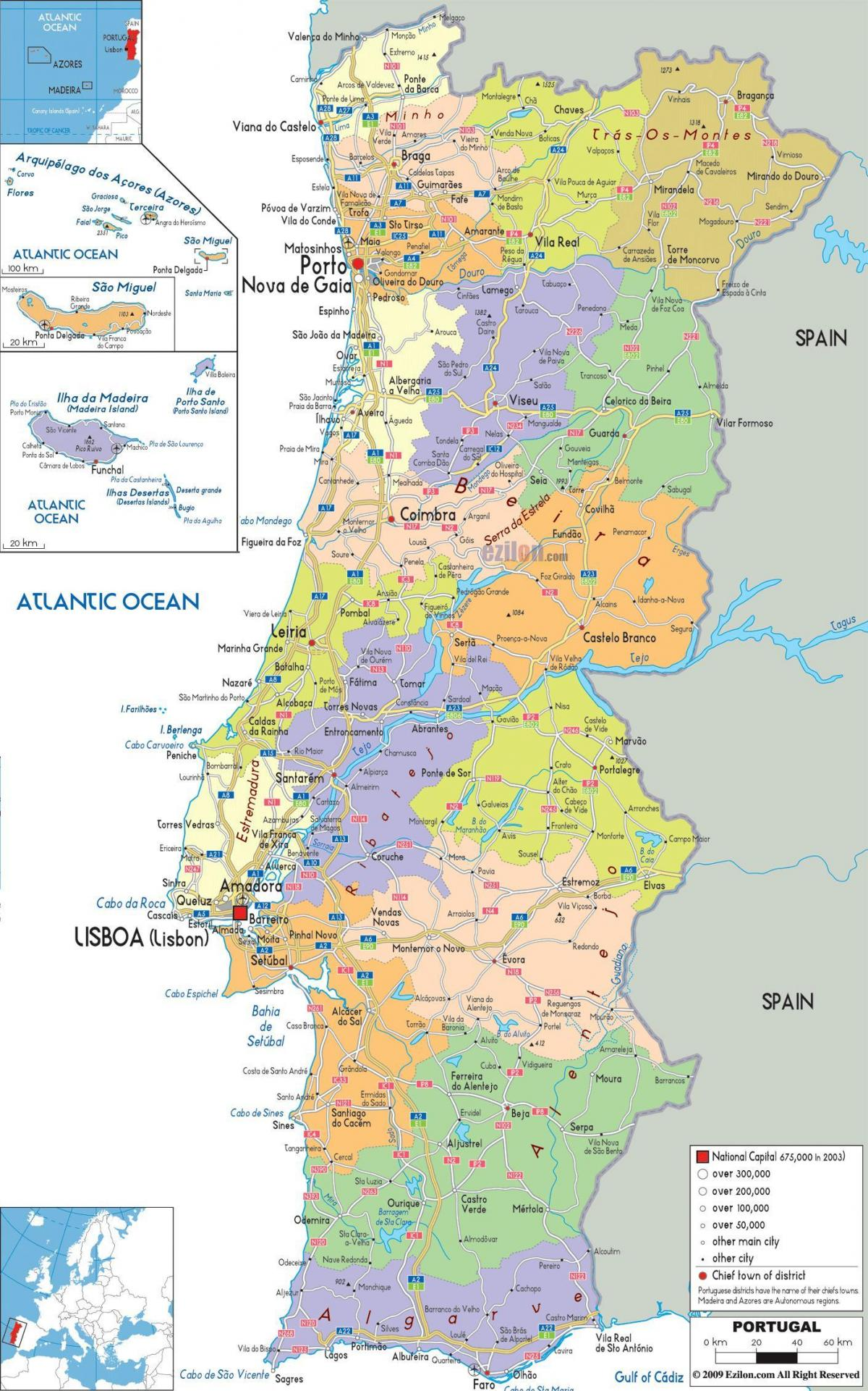 Karta Europa Portugal.Portugal Karta Med Stader Karta Over Portugal Med Stader Sodra