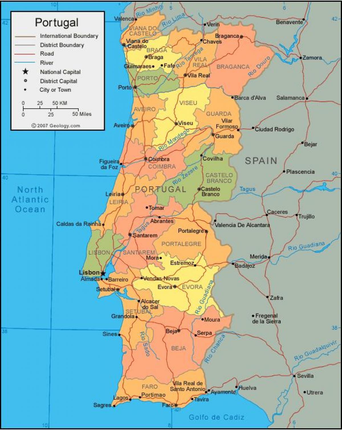Karta Europa Portugal.Portugal Stater Karta Karta Over Portugal Staterna Sodra Europa